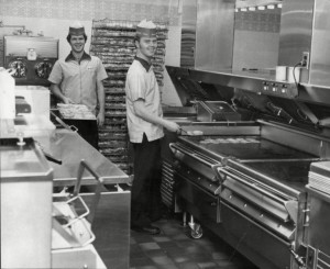 The kitchen in the Woolwich branch, 1974