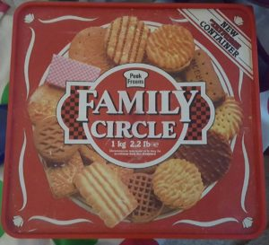 Peek Freen's Family Circle biscuit assortment. The box likely dates from the 1980s