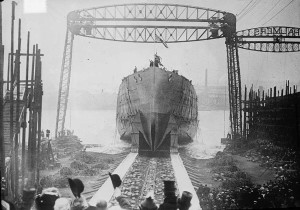 The launching of the HMS Queen Mary from Palmer's shipyard in 1912
